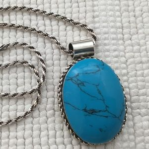Jewelry - Vintage Mexican 925 Turquoise Pendant Necklace